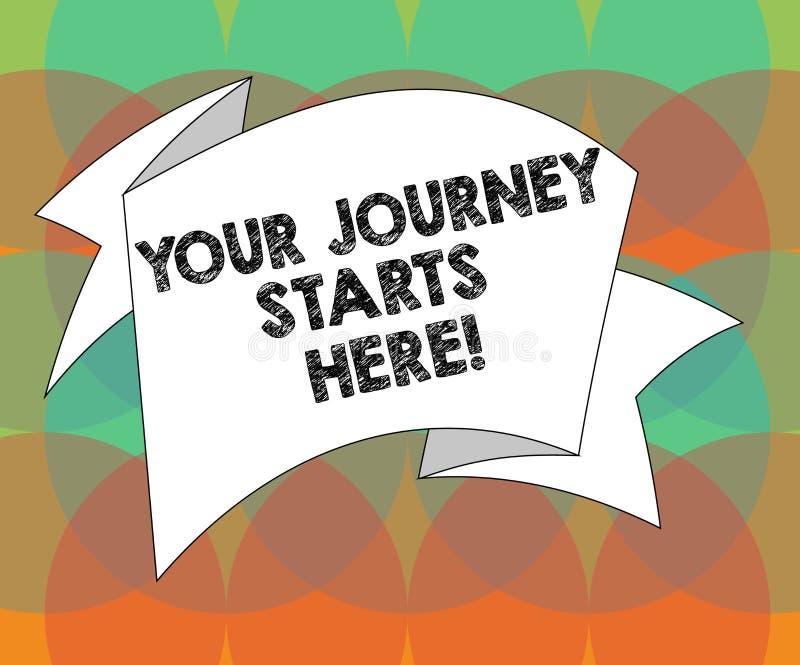 Слово писать тексту ваши начала путешествием здесь Концепция дела для мотивации для начала воодушевленности дела сложила иллюстрация вектора