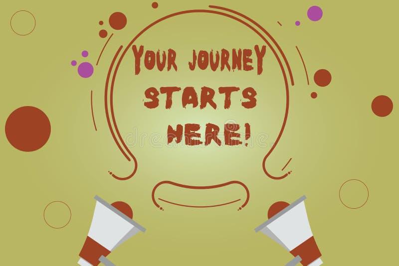 Слово писать тексту ваши начала путешествием здесь Концепция дела для мотивации для начала воодушевленности 2 дела иллюстрация штока