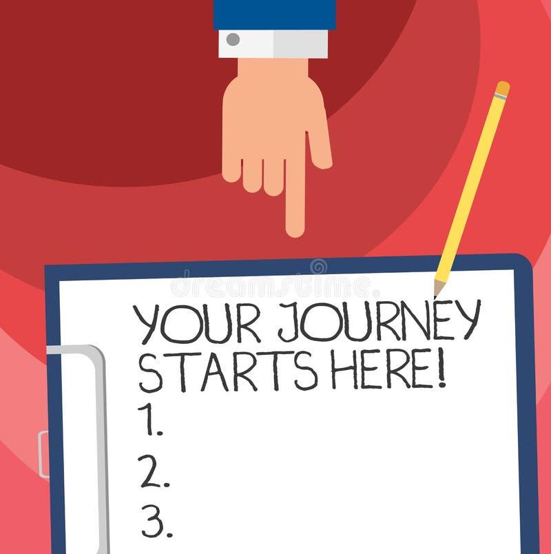 Слово писать тексту ваши начала путешествием здесь Концепция дела для мотивации для начала воодушевленности Hu дела иллюстрация штока