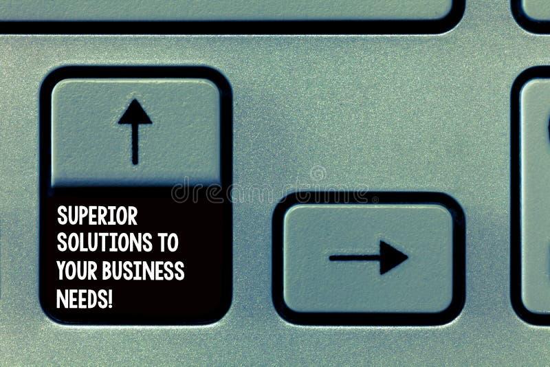 Слово писать тексту главные решения в ваши потребности дела Концепция дела для квалифицированной успешной клавиатуры идей стоковая фотография