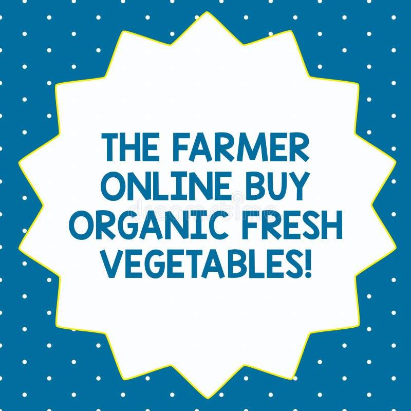 Слово писать тексту фермеру онлайн покупает органические свежие овощи Концепция дела на еда 14 указанное 14 приобретения здоровая стоковые изображения rf