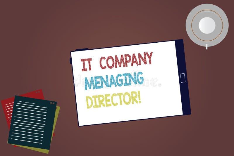 Слово писать управляющий директор ИТ-компании текста Концепция дела для экрана профессионального планшета босса информационной те стоковые изображения