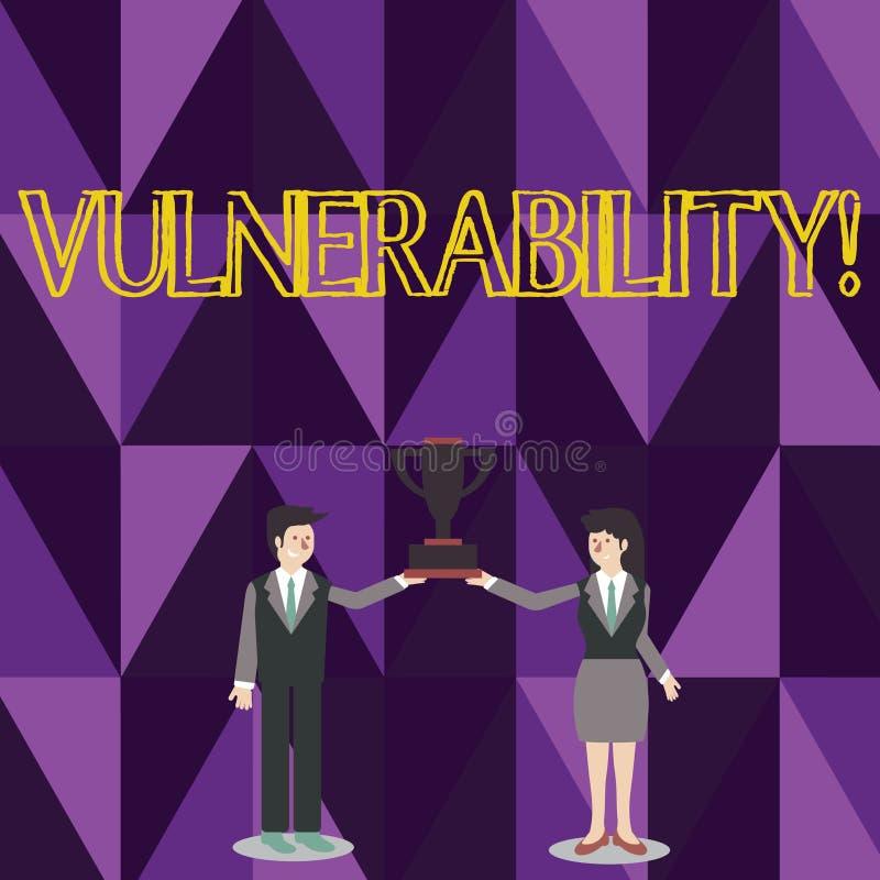 Слово писать уязвимость текста Концепция дела для систем подверженности информации прослушивает человека атакующего эксплуатирова иллюстрация вектора