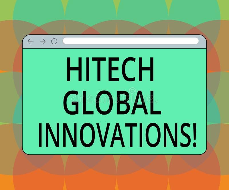 Слово писать Hitech текста глобальные нововведения Концепция дела для экрана монитора технологий режущей кромки вытекая всемирног иллюстрация штока