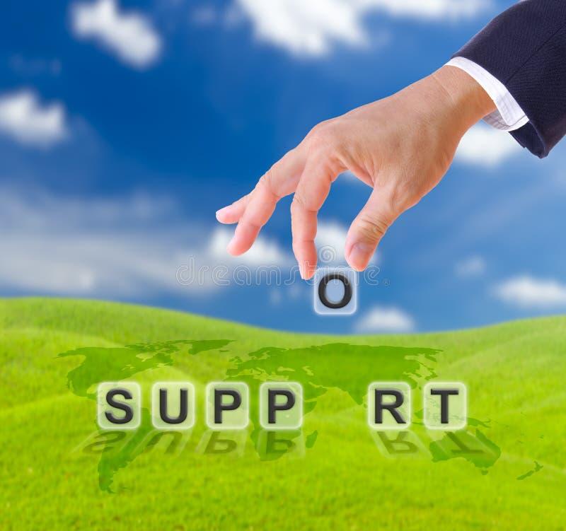 слово поддержки руки стоковое изображение