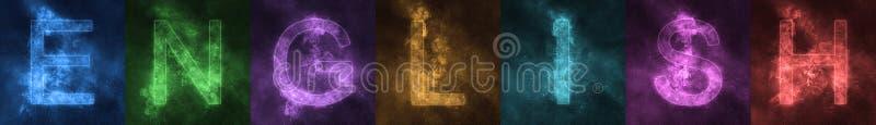 Слово помечая буквами письма АНГЛИЙСКОГО космоса стилизованные красочные английско бесплатная иллюстрация