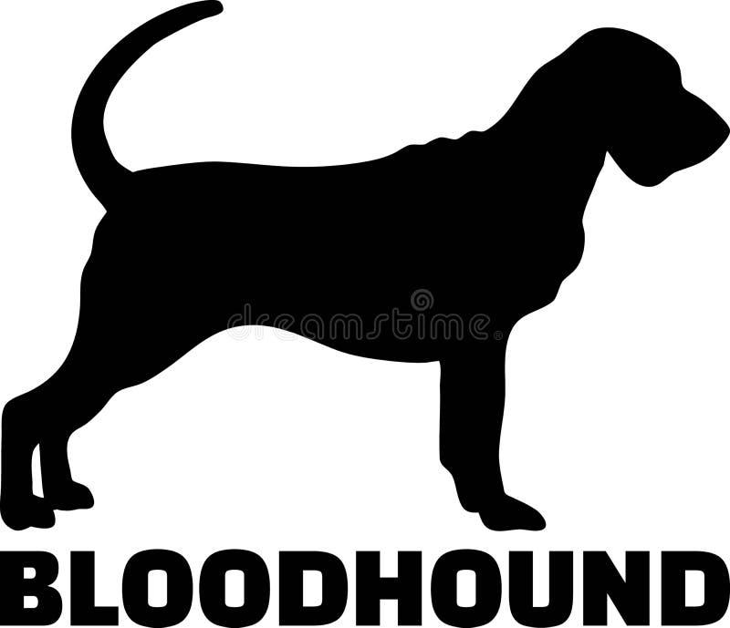 Слово силуэта Bloodhound реальное иллюстрация вектора