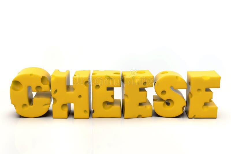 Слово сыра написанное в швейцарских желтых письмах сыра стоковое изображение