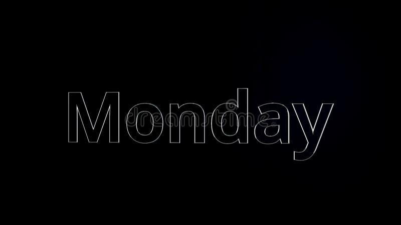 Слово текста понедельника скользя на черной, лоснистой предпосылке, 3D анимации Серебр, анимация текста 3D слова понедельника иллюстрация вектора