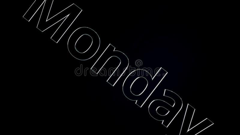 Слово текста понедельника скользя на черной, лоснистой предпосылке, 3D анимации Серебр, анимация текста 3D слова понедельника бесплатная иллюстрация