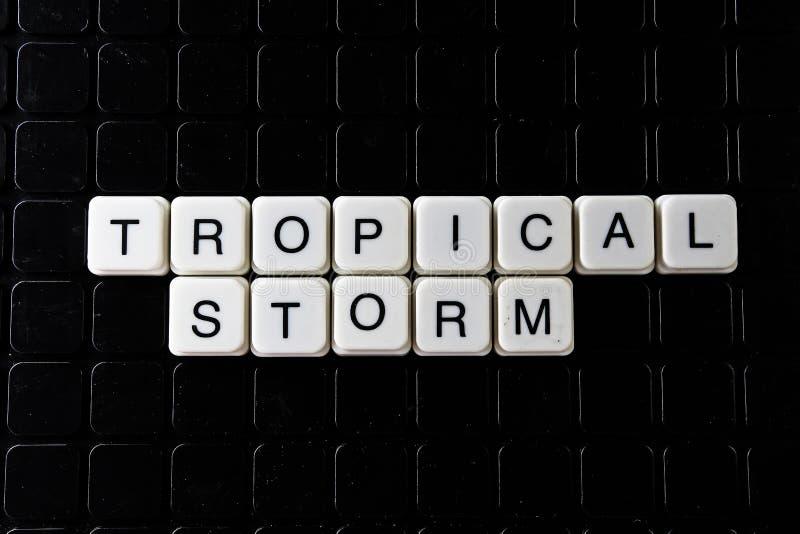Слово текста тропического шторма белое на черной крышке Кроссворд слова текста Письмо алфавита преграждает предпосылку текстуры и стоковое изображение rf