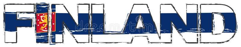 Слово ФИНЛЯНДИЯ с финским национальным флагом включая heraldic символ под им, огорченный взгляд льва grunge иллюстрация штока
