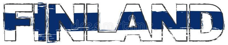 Слово ФИНЛЯНДИЯ с финским национальным флагом под им, огорченным взглядом grunge бесплатная иллюстрация