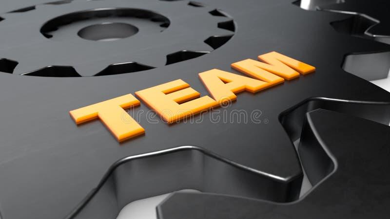 Слово шестерни и команды стоковое изображение