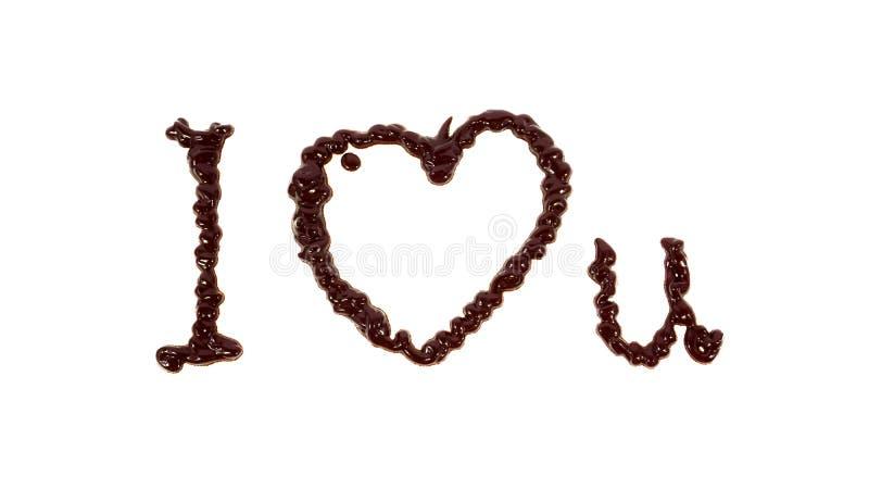 Слово я тебя люблю написанное шоколадом стоковые изображения