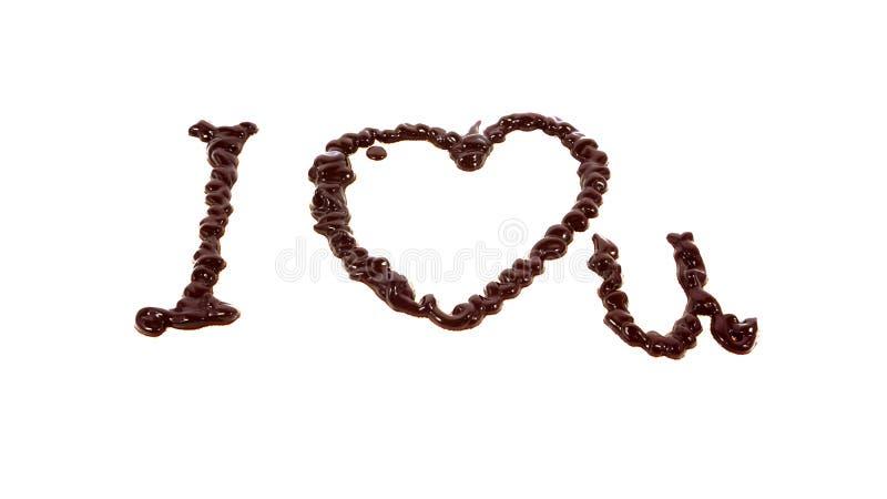 Слово я тебя люблю написанное шоколадом стоковое изображение