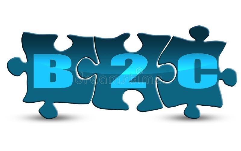 Слово B2C на головоломке изолированной на белизне иллюстрация штока