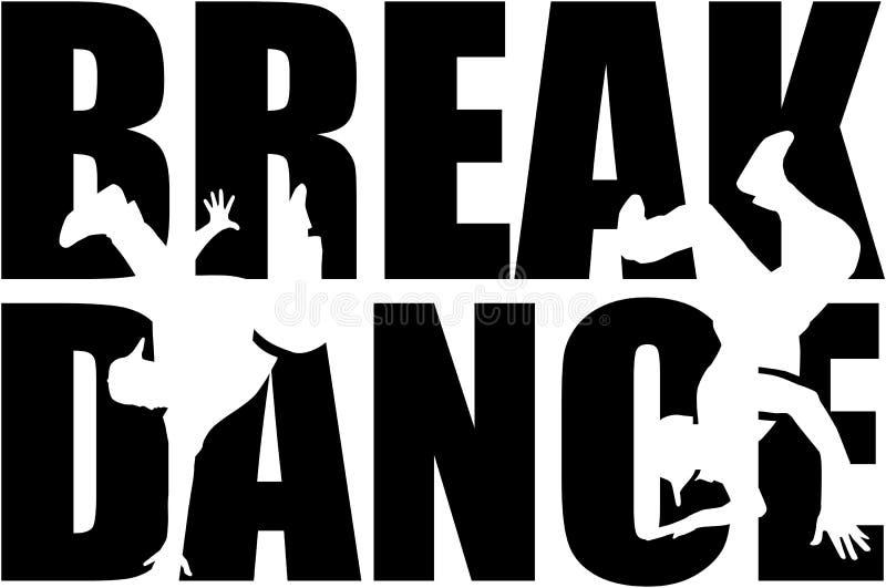 Слово Breakdance с силуэтом выреза иллюстрация вектора
