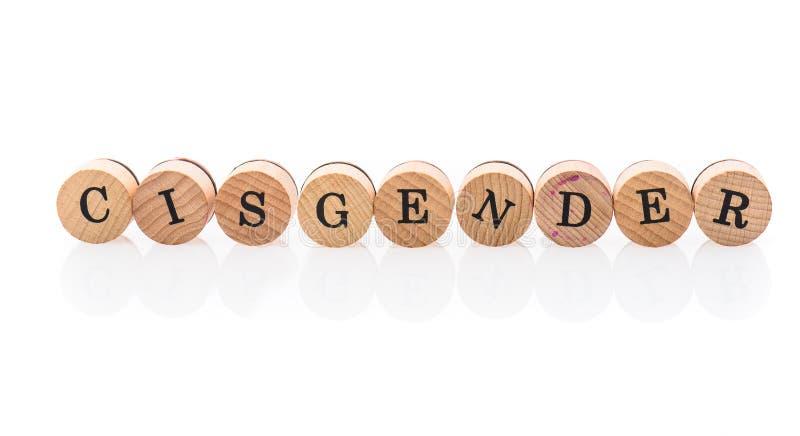 Слово Cisender от круговых деревянных плиток с детьми писем забавляется стоковое фото