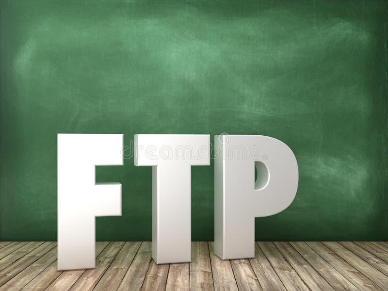 Слово FTP 3D на предпосылке доски иллюстрация штока