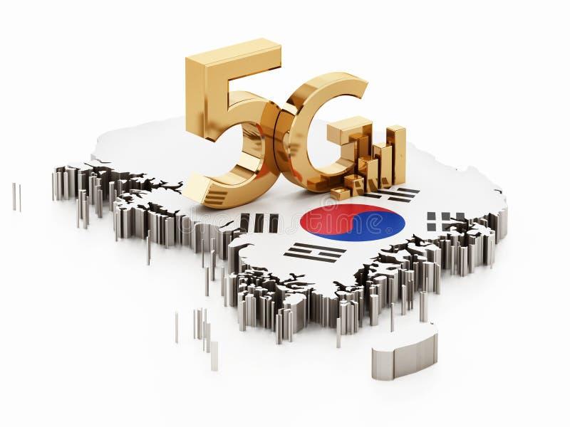 слово 5G стоя на карте и флаге Южной Кореи иллюстрация 3d иллюстрация вектора