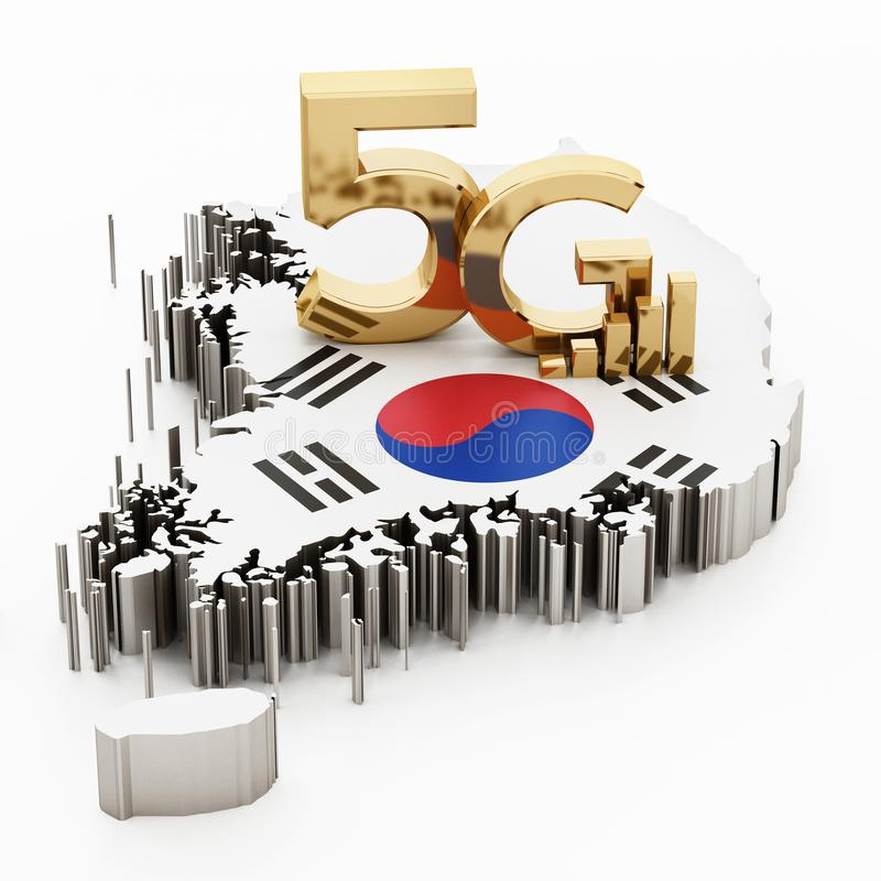 слово 5G стоя на карте и флаге Южной Кореи иллюстрация 3d иллюстрация штока