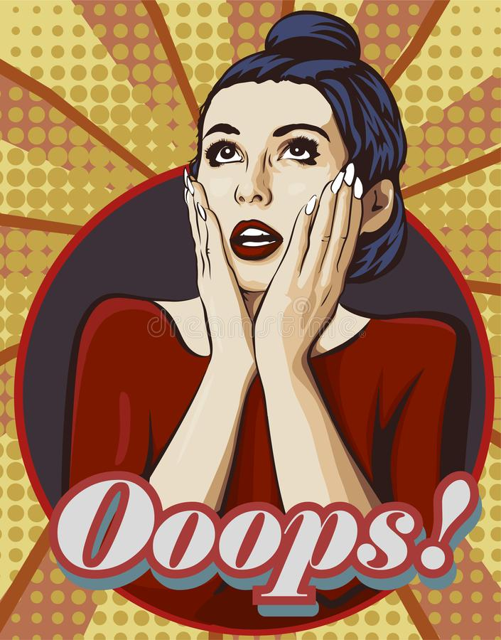 Сотрясенная женщина с открытым ртом Удивленная сторона с 2 руками Слово Ooops Комиксы изображения вектора ввели в моду бесплатная иллюстрация