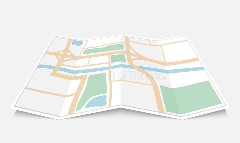 Сложенная бумажная карта города, иллюстрация вектора иллюстрация вектора