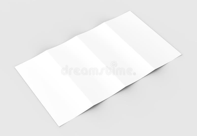 4 сложили - четырехкратный - вертикальный модель-макет брошюры изолированный на sof иллюстрация вектора