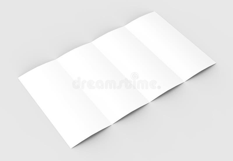 4 сложили - четырехкратный - вертикальный модель-макет брошюры изолированный на sof иллюстрация штока