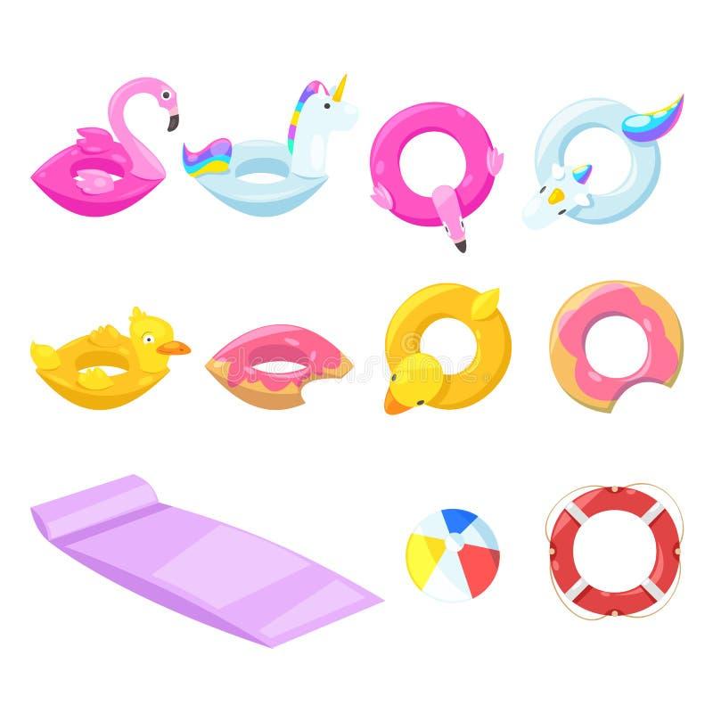 Сложите поплавки вместе милых детей раздувные, вектор изолированные элементы дизайна Единорог, фламинго, утка, шарик, значки дону иллюстрация штока