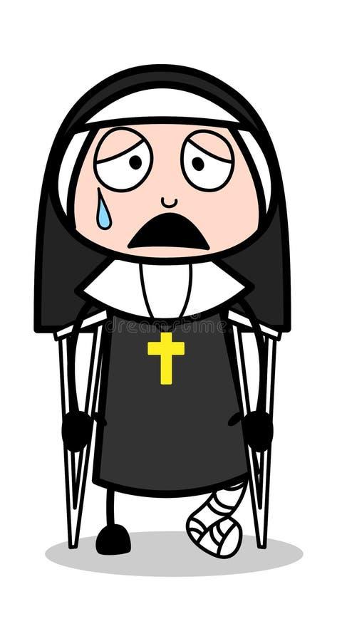 Сломанный пациент ноги - дама Вектор Иллюстрация монашки мультфильма бесплатная иллюстрация