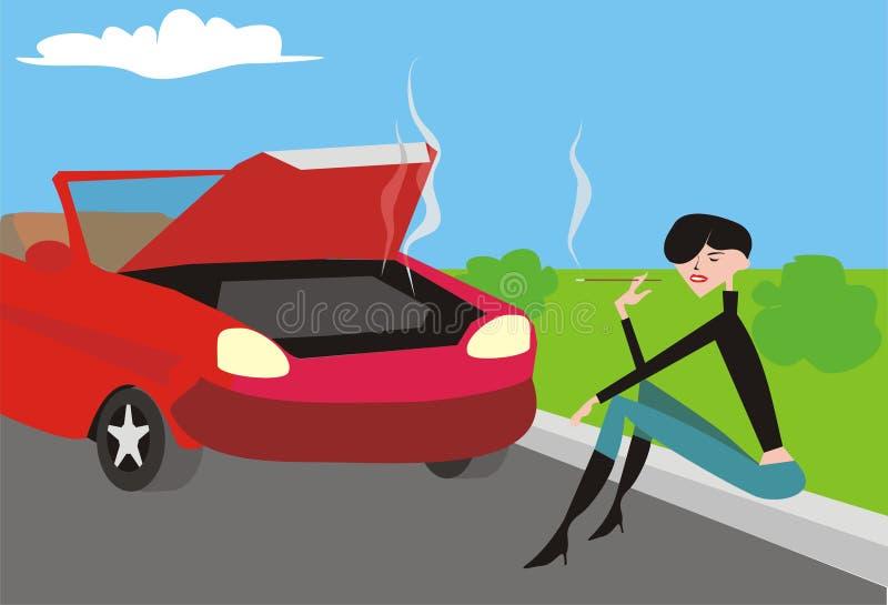 сломленная девушка автомобиля ближайше иллюстрация вектора