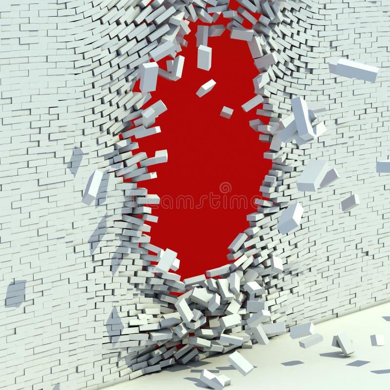 Сломленная кирпичная стена иллюстрация вектора