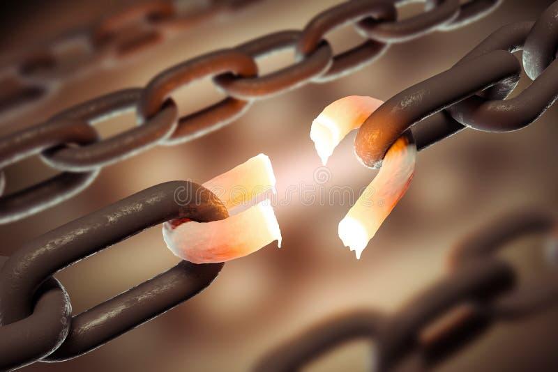 Сломленная концепция звена цепи, дела и свободы иллюстрация вектора
