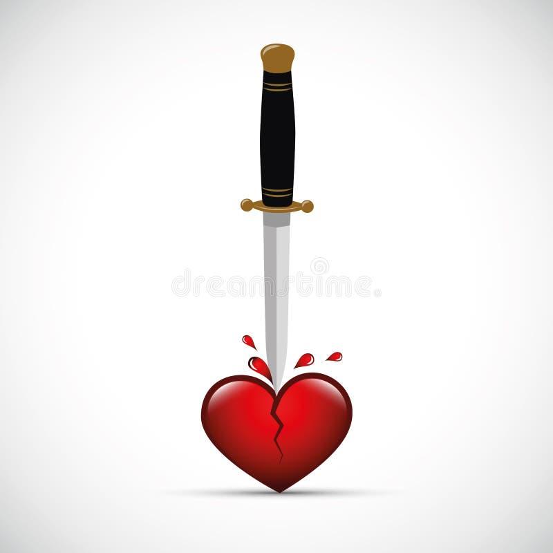 Сломленное кровопролитное сердце с кинжалом иллюстрация вектора