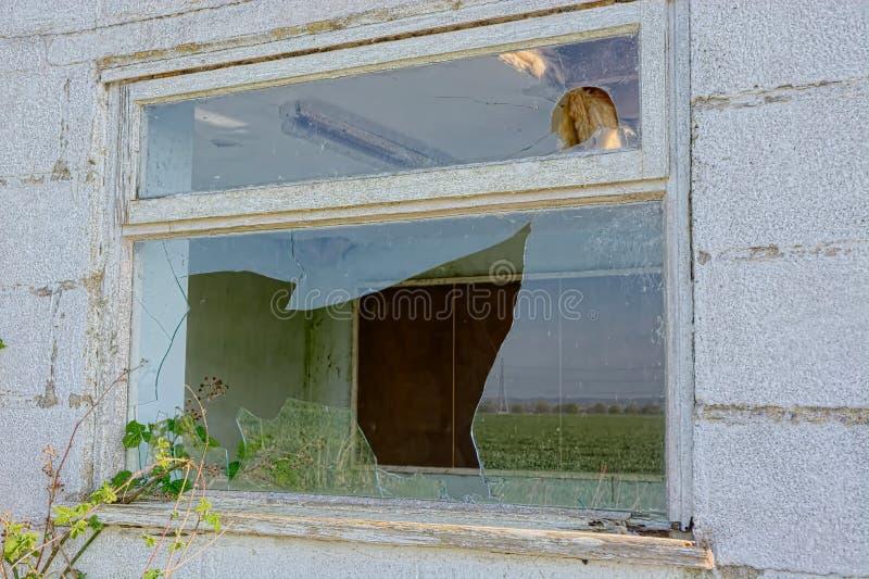 Сломленное окно Покинутый офис стоковые фото