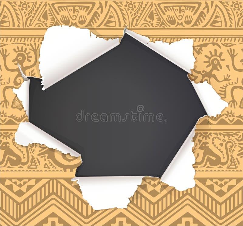 Сломленное отверстие в бумаге с африканским примитивным местом картины бесплатная иллюстрация