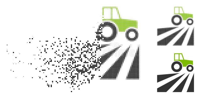 Сломленное поставленное точки поле фермы полутонового изображения с значком трактора бесплатная иллюстрация