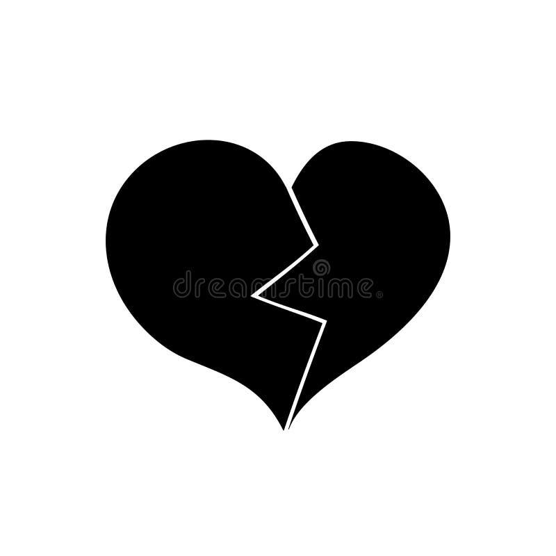 сломленное сердце Черный значок на белой предпосылке иллюстрация вектора