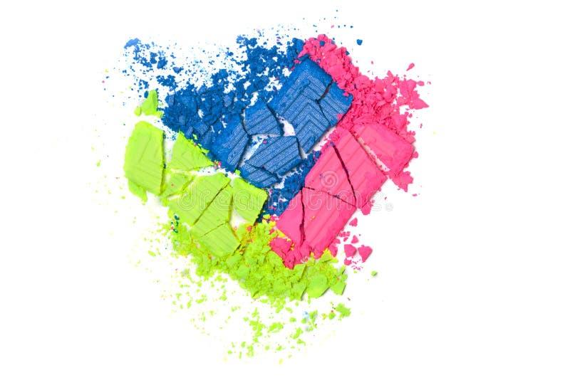 Сломленные зеленые, розовые и голубые неоновые тени для век цвета изолированные на белизне стоковое фото rf