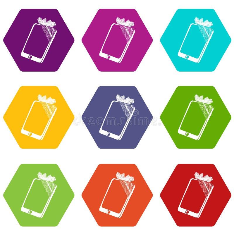 Сломленные значки smartphone экрана установили вектор 9 иллюстрация вектора