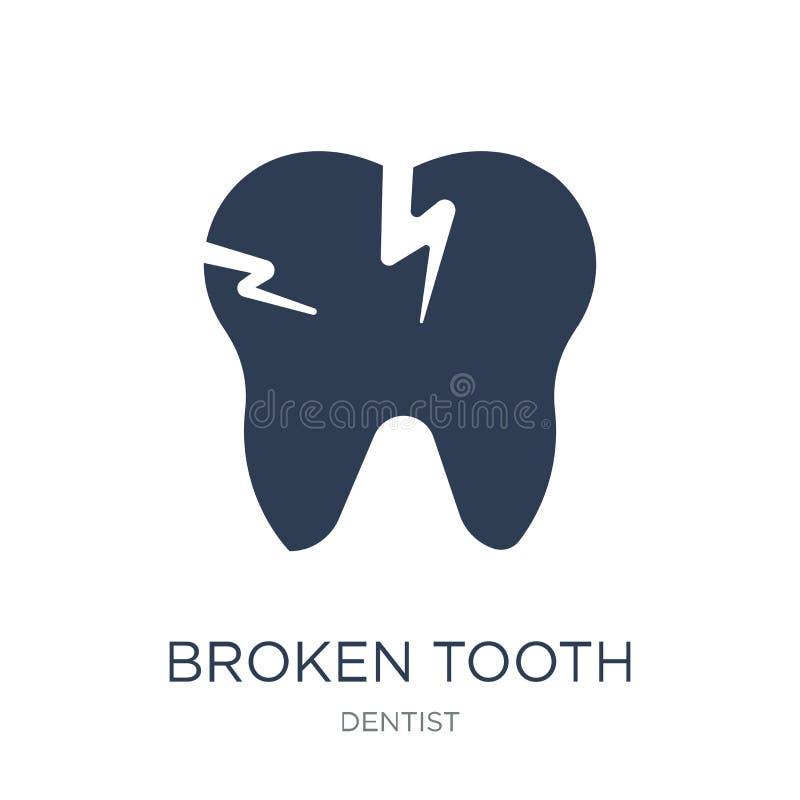 Сломленный значок зуба Значок зуба ультрамодного плоского вектора сломленный на белизне бесплатная иллюстрация