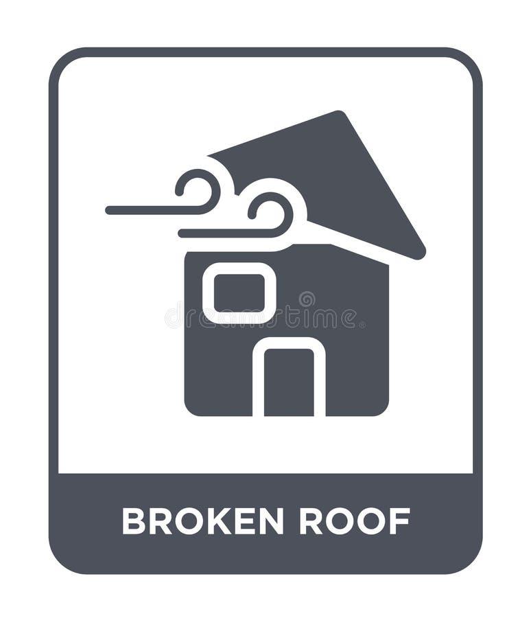 сломленный значок крыши в ультрамодном стиле дизайна сломанный значок крыши изолированный на белой предпосылке сломленный значок  иллюстрация вектора
