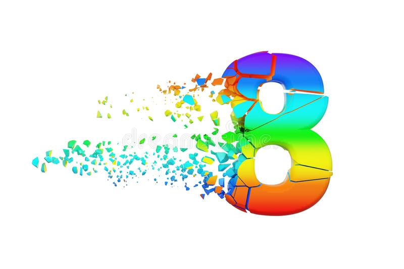 Сломленный разрушенный радужный алфавит 8 Задавленный шрифт радуги 3d представляют изолировано на белой предпосылке иллюстрация вектора
