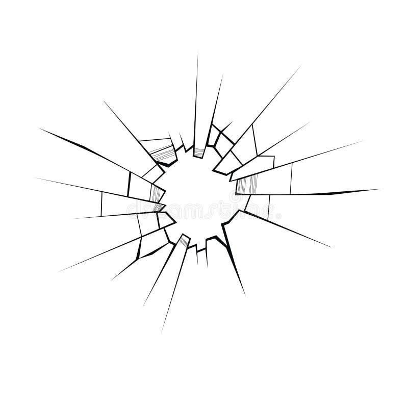 Сломленный стеклянный вектор треснутый стеклянный значок иллюстрация штока