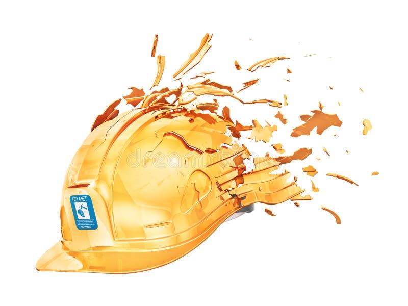 Сломленный шлем с частями летания иллюстрация 3d иллюстрация вектора