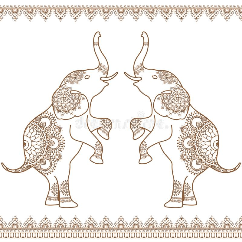 2 слона стоя вверх с безшовной коричневой линией границами хны шнурка в стиле хны этнического mehndi индийском иллюстрация штока
