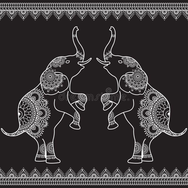 2 слона стоя вверх с безшовной линией границами шнурка в стиле хны этнического mehndi индийском иллюстрация штока