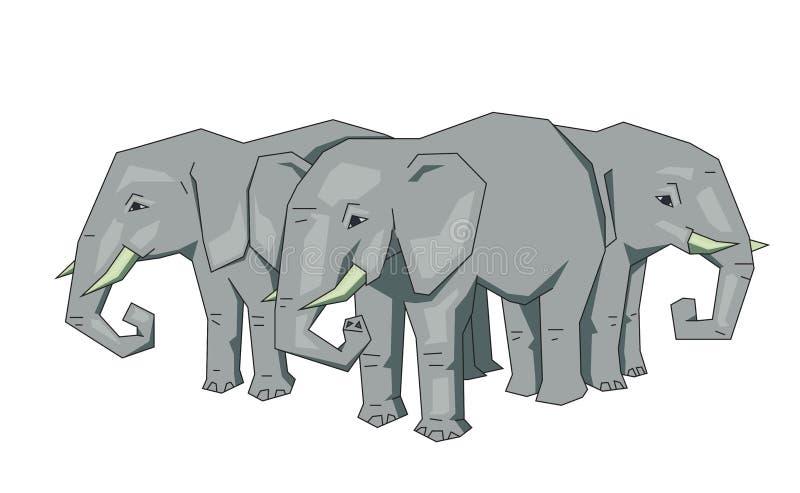 Слоны дерева, мифическая плоская концепция земли Плоская линия иллюстрация вектора Покрашенный стиль шаржа, изолированный на бели иллюстрация вектора